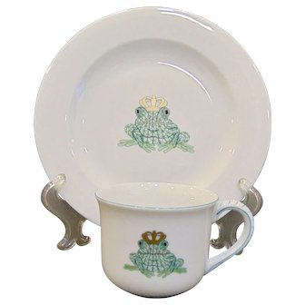 Herend Porcelain Frog Prince Baby Set Plate and Cup
