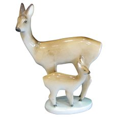 Zsolnay Hungary Deer Doe and Fawn Figurine