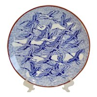 Japanese Flying Cranes Blue and White Charger Wall Plate