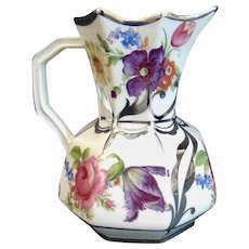Lovely Bohemia Flowers and Silver Deposit Hydra Pitcher Jug