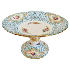 Antique Minton Porcelain Newcastle Reticulated Tazza Compote