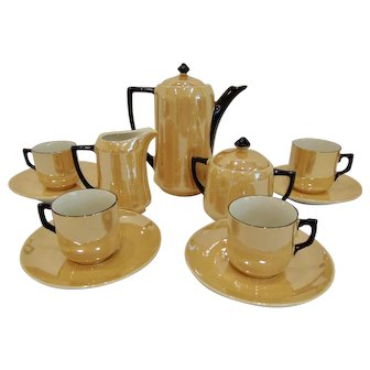 Vintage Art Deco Lusterware Cabaret Coffee Set Germany