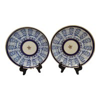 Pair Antique Pearlware Royal Lily Blue and White Low Bowls