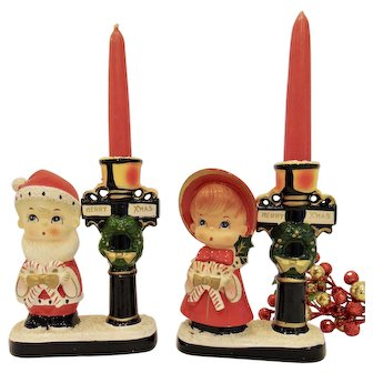 Vintage Pair Santa Boy and Girl by Lamp Post Candleholders