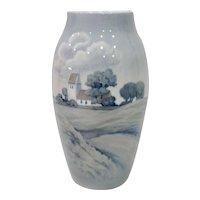 Large Bing & Grondahl Country Church Porcelain Vase