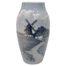 Large Bing & Grondahl Windmill Porcelain Vase