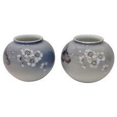 Pair Royal Copenhagen Cherry Blossom Butterfly and Spider Web Vases