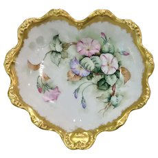 Heavily Gilded Coiffe Limoges Bowl with Morning Glories