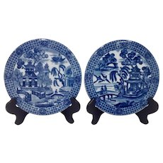 Pair of Mottahedeh Blue Canton Tea Tiles or Trivets
