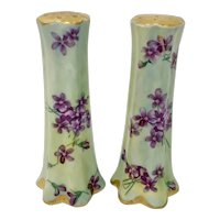 Pair Antique French Porcelain Violets Salt & Pepper Shakers