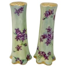 Pair Antique French Porcelain Violets Salt & Pepper Shakers