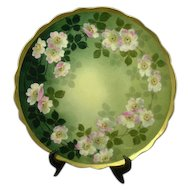 Antique Victorian Apple Blossoms Limoges Charger, Artist Signed