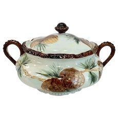 Antique Austria Pine Cone Biscuit Jar or Tureen