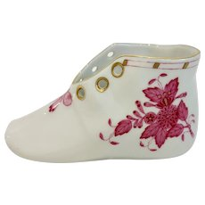 Herend Chinese Bouquet Pink Raspberry Baby Shoe