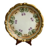 Antique Gilded Limoges Charger Plate with Hand Painted Violets