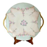 T&V Limoges Trompe L'Oeil Gold Handle Cake Plate
