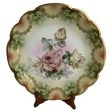 """Antique Bavaria 12"""" Porcelain Charger with Roses"""