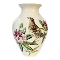 "Beautiful Spode 10"" Porcelain Vase Bird and Flowers"