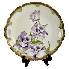 Gold Encrusted Bavarian Porcelain Daffodils Cake Plate