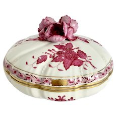 Herend Chinese Bouquet Raspberry Covered Candy Dish