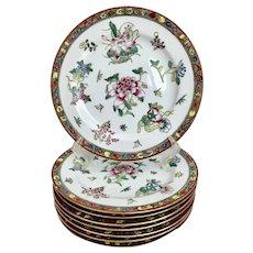 """Set of 8 Japanese Porcelain Chinoiserie 10"""" Dinner Plates"""