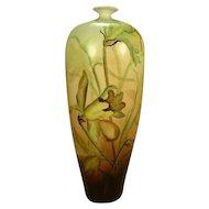 "Artist Signed 1905 Antique Austria Daffodils Vase 11 3/4"""