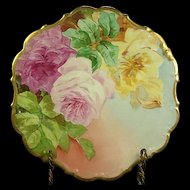 Limoges Porcelain Flambeau Huge Roses Charger Plate, Early 1900's, Artist Signed, Factory Decorated