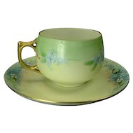Hand Painted Blue Forget-Me-Nots Cup and Saucer, Artist Signed