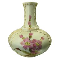 Late 1800's Rudolstadt Vase, Hand Painted Flowers, Gilt Trim