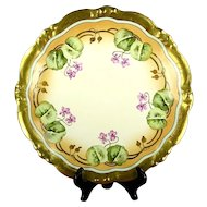 Antique Elite/Bawo & Dotter Limoges Hand Painted Violets Charger