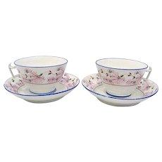 Pair of Large Antique English Porcelain Cups & Saucers