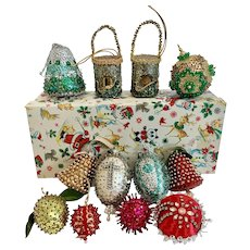 12 Vintage Bead Sequin Pin Christmas Ornaments w Box