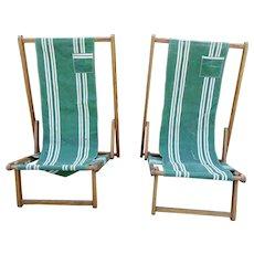 Pair Vintage Wood & Canvas Beach Chairs Take-Along Thomasville GA