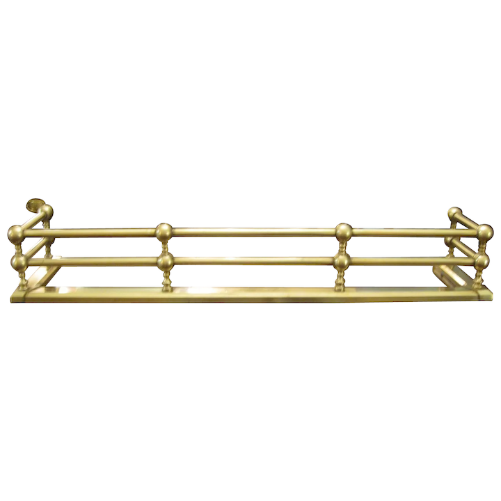 Antique Solid Brass Double Rail Fireplace Fender Antiques On