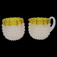 Hobbs Brockunier Dew Drop Creamer and Open Sugar, Frances Decoration