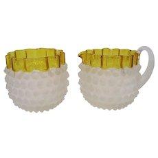 Hobbs Brockunier Dew Drop Creamer and Open Sugar, Frances Decoration