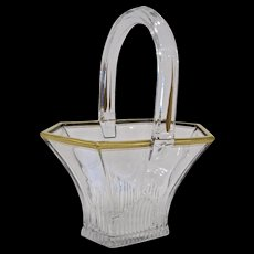 Large Heisey Glass Picket Basket, Gold Trim