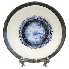 Vintage Murano Charger with Blue Swirl, Clear Rim