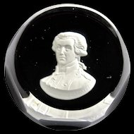 Baccarat Crystal Sulphide Paperweight Marquis De Lafayette