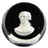 Baccarat Crystal Sulphide Paperweight Marquis De Lafayette