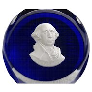 Cristal D'Albret Sulphide Paperweight George Washington
