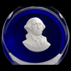 Cristal D'Albret Sulphide Paperweight George Washington