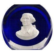 Cristal D'Albret Sulphide Paperweight Thomas Jefferson