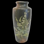 Large Antique Treen Wood Vase with Lily of the Valley Decoration