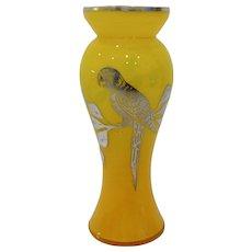 Czech/Bohemian Art Nouveau Yellow Art Glass Vase with Silver Parrot