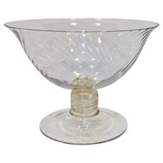 Beautiful Large Murano Venetian Glass Footed Bowl Spiral Optic Aventurine