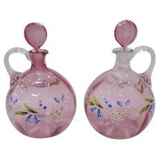 Pair Gorgeous Antique Enameled Glass Decanters