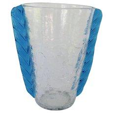 Mid Century Modern Blenko Crackle Glass Vase with Blue Wing Handles