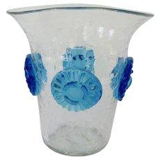 1950s Blenko Crackle Glass Vase with Blue Prunts