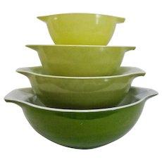 Set of 4 Pyrex #440 Verde Green Cinderella Mixing Bowls